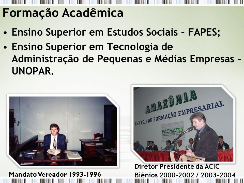Formação Acadêmica Ensino Superior em Estudos Sociais – FAPES; Ensino Superior em Tecnologia de Administração de Pequenas e Médias Empresas – UNOPAR.