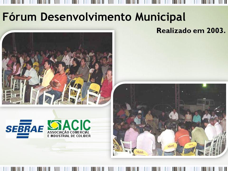 Realizado em 2003. Fórum Desenvolvimento Municipal