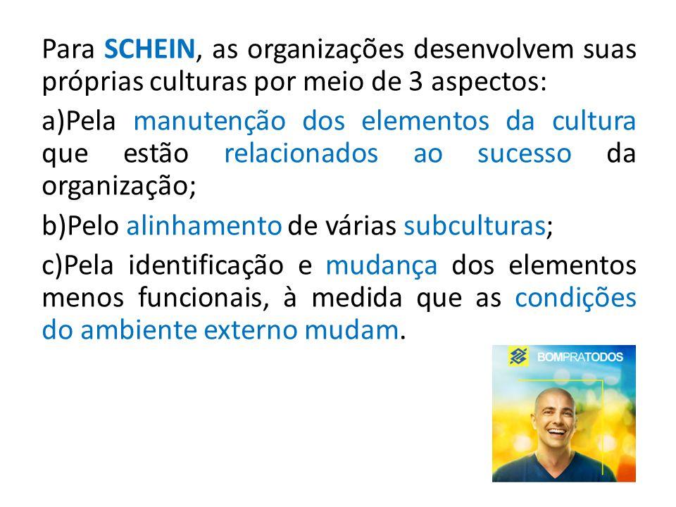Para SCHEIN, as organizações desenvolvem suas próprias culturas por meio de 3 aspectos: a)Pela manutenção dos elementos da cultura que estão relaciona