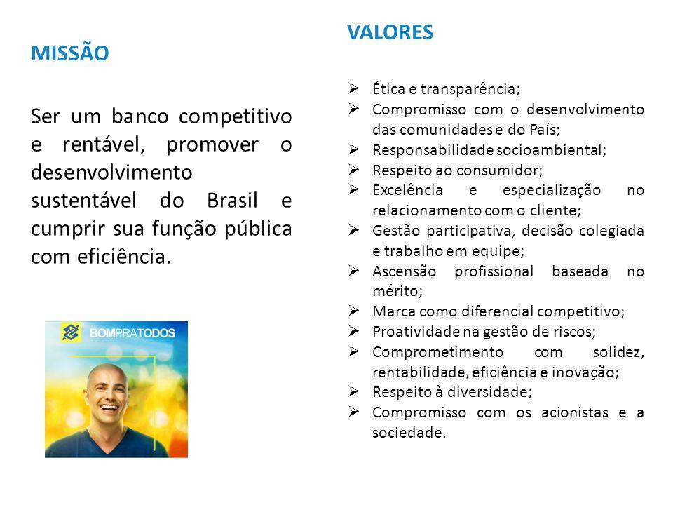 VISÃO DE FUTURO Sermos o primeiro banco dos brasileiros, das empresas e do setor público, referência no exterior, o melhor banco para trabalhar, reconhecido pelo desempenho, relacionamentos duradouros e responsabilidade socioambiental.