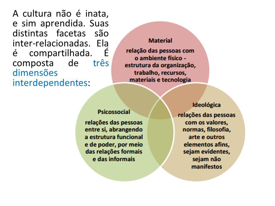 A cultura não é inata, e sim aprendida. Suas distintas facetas são inter-relacionadas. Ela é compartilhada. É composta de três dimensões interdependen