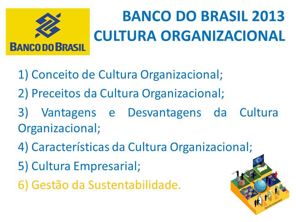 1) Conceito de Cultura Organizacional; 2) Preceitos da Cultura Organizacional; 3) Vantagens e Desvantagens da Cultura Organizacional; 4) Característic