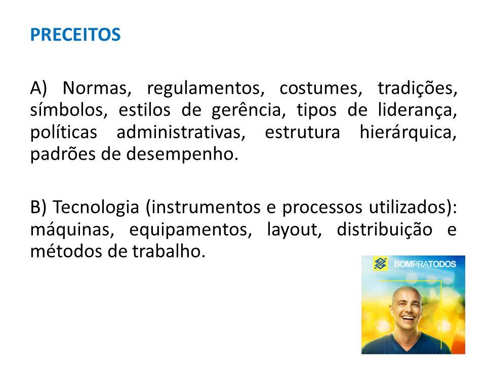 PRECEITOS A) Normas, regulamentos, costumes, tradições, símbolos, estilos de gerência, tipos de liderança, políticas administrativas, estrutura hierár