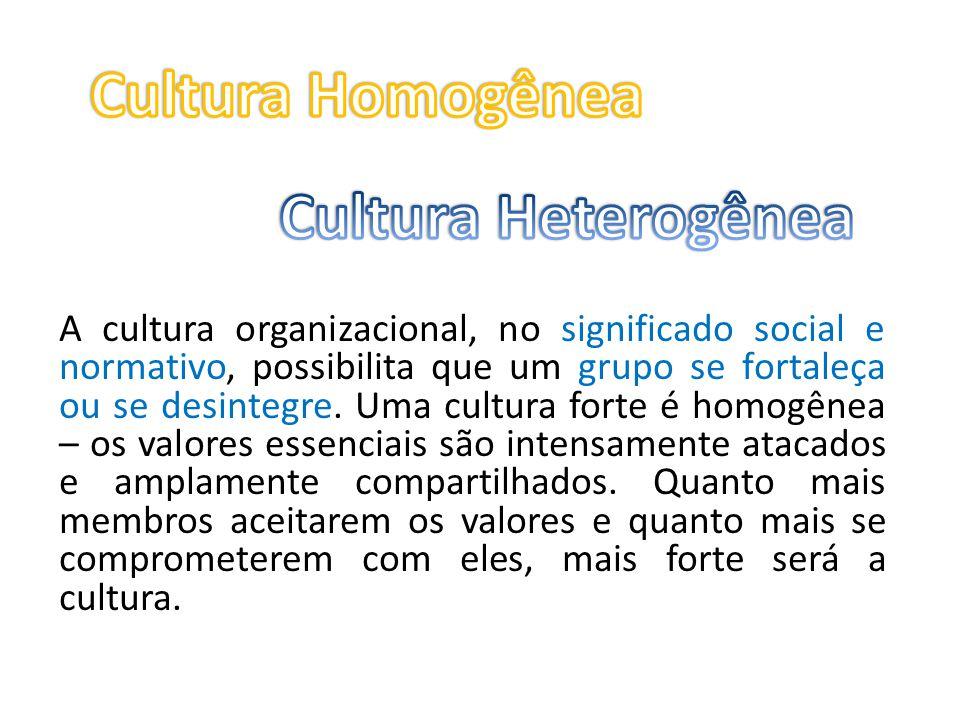 A cultura organizacional, no significado social e normativo, possibilita que um grupo se fortaleça ou se desintegre. Uma cultura forte é homogênea – o