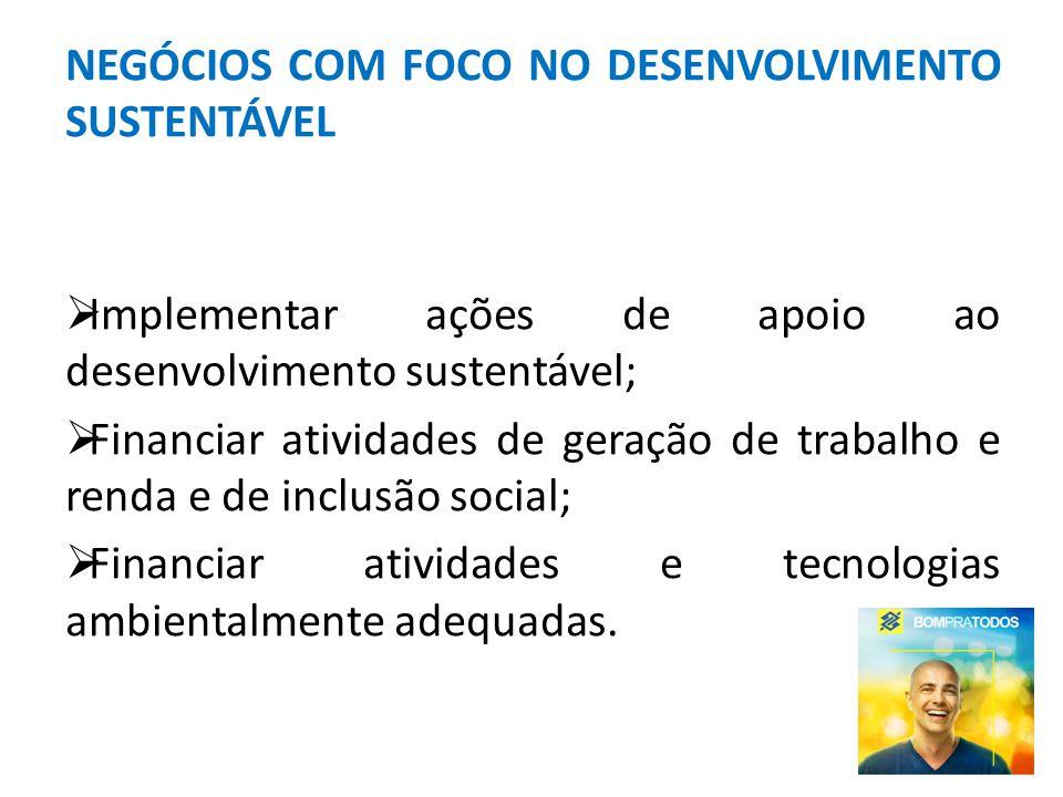 NEGÓCIOS COM FOCO NO DESENVOLVIMENTO SUSTENTÁVEL Implementar ações de apoio ao desenvolvimento sustentável; Financiar atividades de geração de trabalh