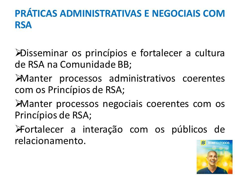 PRÁTICAS ADMINISTRATIVAS E NEGOCIAIS COM RSA Disseminar os princípios e fortalecer a cultura de RSA na Comunidade BB; Manter processos administrativos