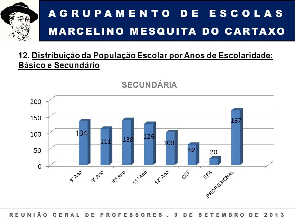 AGRUPAMENTO DE ESCOLAS MARCELINO MESQUITA DO CARTAXO REUNIÃO GERAL DE PROFESSORES. 9 DE SETEMBRO DE 2013 12. Distribuição da População Escolar por Ano
