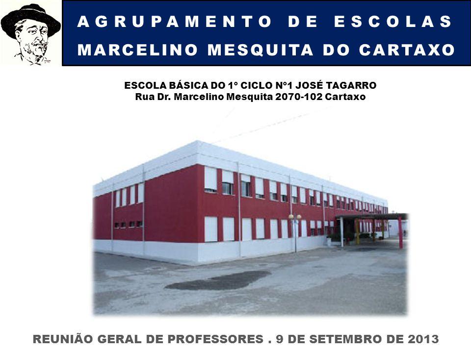 AGRUPAMENTO DE ESCOLAS MARCELINO MESQUITA DO CARTAXO REUNIÃO GERAL DE PROFESSORES. 9 DE SETEMBRO DE 2013 ESCOLA BÁSICA DO 1º CICLO Nº1 JOSÉ TAGARRO Ru