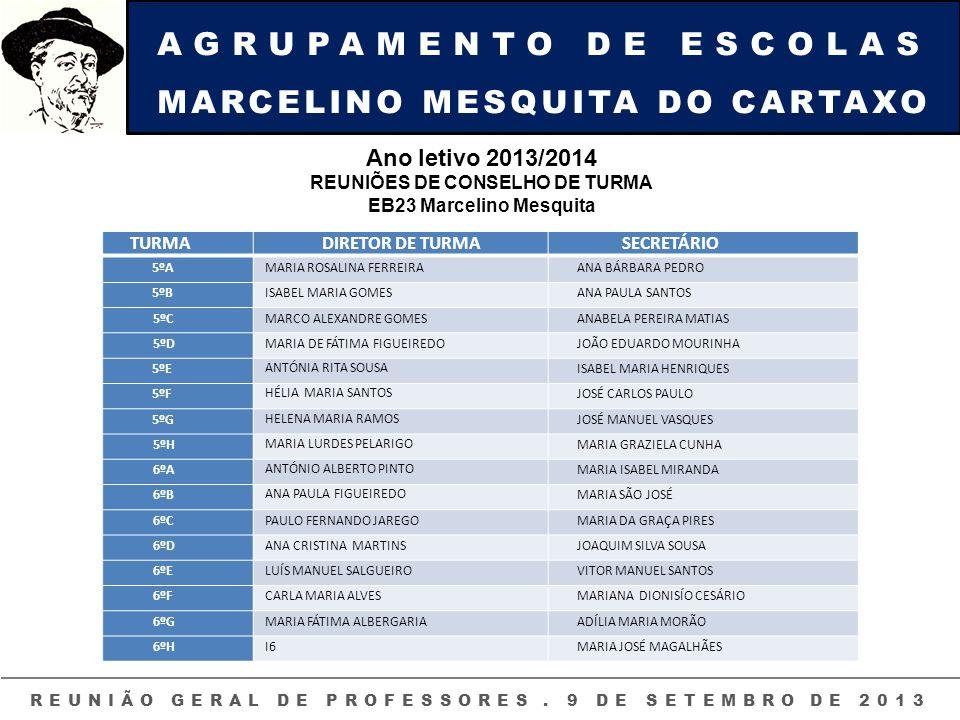 AGRUPAMENTO DE ESCOLAS MARCELINO MESQUITA DO CARTAXO REUNIÃO GERAL DE PROFESSORES. 9 DE SETEMBRO DE 2013 TURMADIRETOR DE TURMASECRETÁRIO 5ºAMARIA ROSA