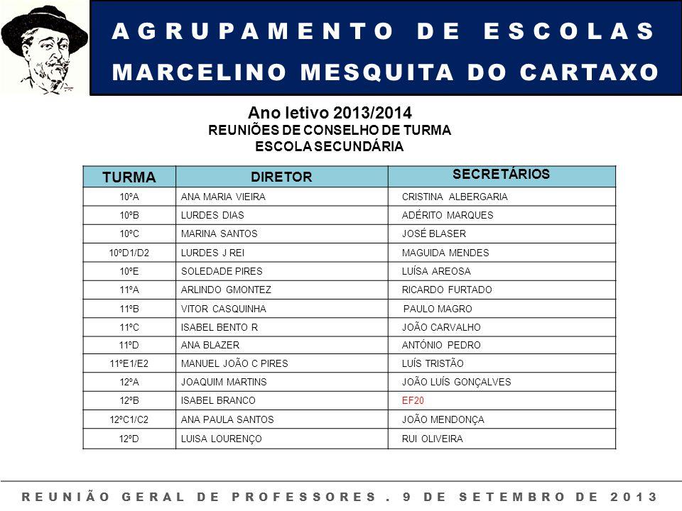 AGRUPAMENTO DE ESCOLAS MARCELINO MESQUITA DO CARTAXO REUNIÃO GERAL DE PROFESSORES. 9 DE SETEMBRO DE 2013 Ano letivo 2013/2014 REUNIÕES DE CONSELHO DE