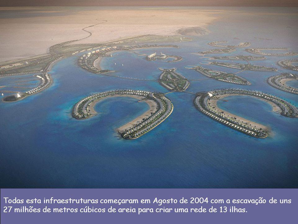 Todas esta infraestruturas começaram em Agosto de 2004 com a escavação de uns 27 milhões de metros cúbicos de areia para criar uma rede de 13 ilhas.