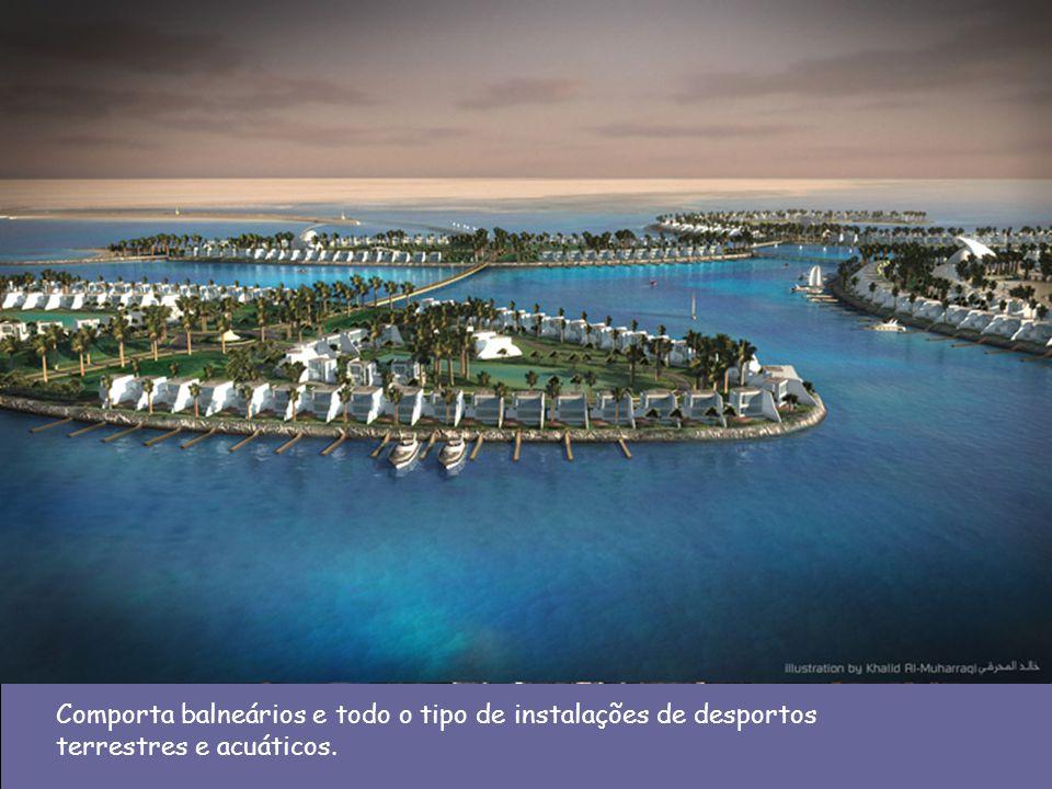 Comporta balneários e todo o tipo de instalações de desportos terrestres e acuáticos.
