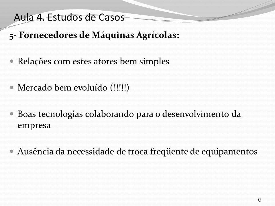 Aula 4. Estudos de Casos 5- Fornecedores de Máquinas Agrícolas: Relações com estes atores bem simples Mercado bem evoluído (!!!!!) Boas tecnologias co