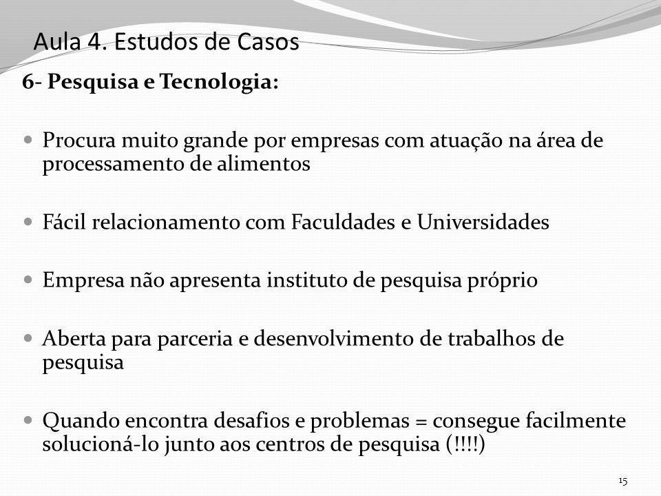 Aula 4. Estudos de Casos 6- Pesquisa e Tecnologia: Procura muito grande por empresas com atuação na área de processamento de alimentos Fácil relaciona