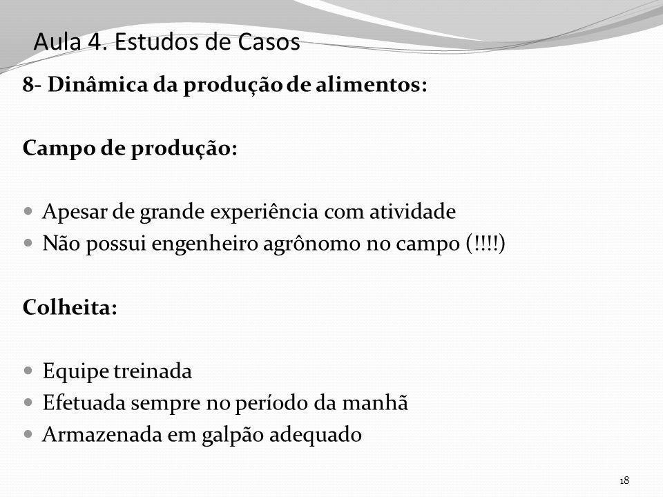Aula 4. Estudos de Casos 8- Dinâmica da produção de alimentos: Campo de produção: Apesar de grande experiência com atividade Não possui engenheiro agr