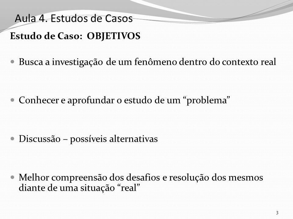 Aula 4. Estudos de Casos Estudo de Caso: OBJETIVOS Busca a investigação de um fenômeno dentro do contexto real Conhecer e aprofundar o estudo de um pr