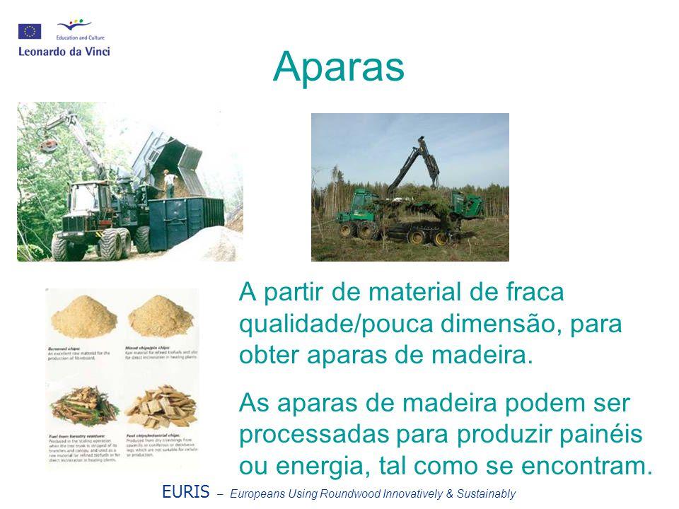 EURIS – Europeans Using Roundwood Innovatively & Sustainably Aparas A partir de material de fraca qualidade/pouca dimensão, para obter aparas de madei