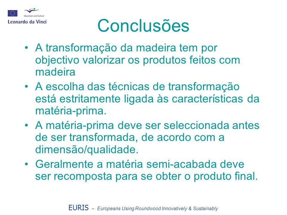 EURIS – Europeans Using Roundwood Innovatively & Sustainably Conclusões A transformação da madeira tem por objectivo valorizar os produtos feitos com