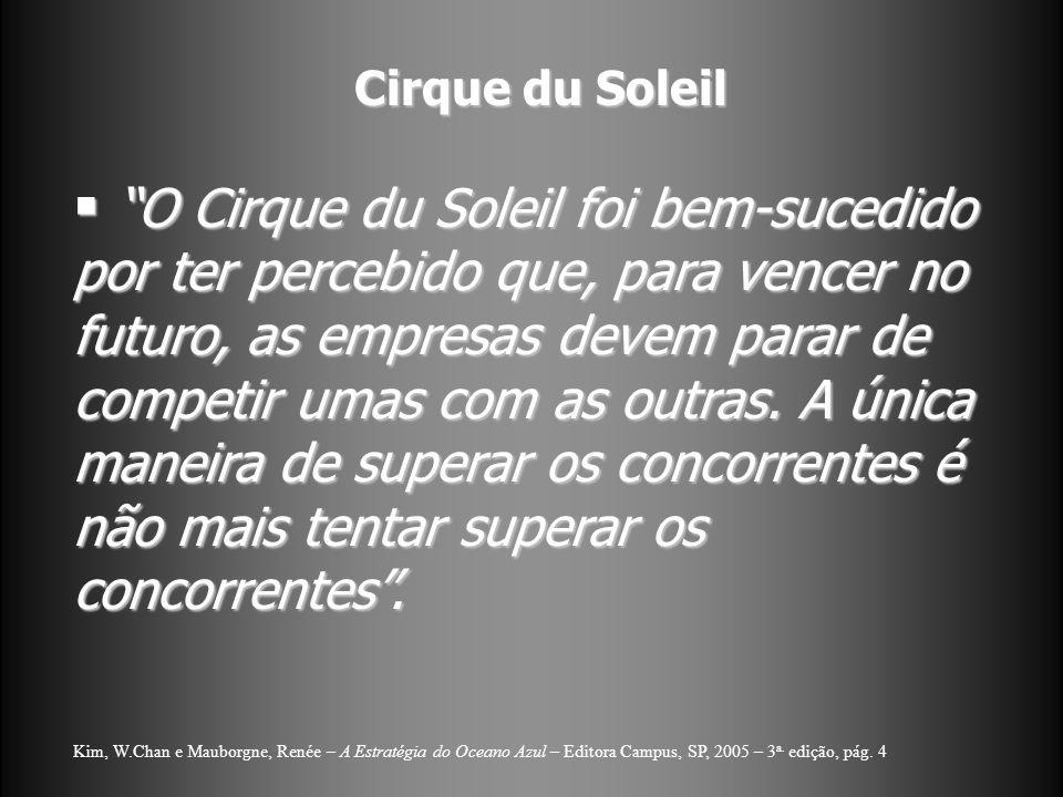 Cirque du Soleil O Cirque du Soleil foi bem-sucedido por ter percebido que, para vencer no futuro, as empresas devem parar de competir umas com as out