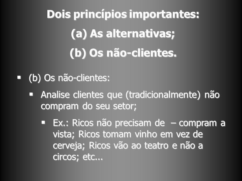 Dois princípios importantes: (a) As alternativas; (b) Os não-clientes. (b) Os não-clientes: (b) Os não-clientes: Analise clientes que (tradicionalment