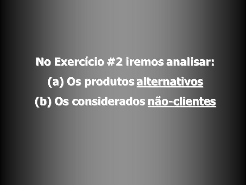 No Exercício #2 iremos analisar: (a) Os produtos alternativos (b) Os considerados não-clientes