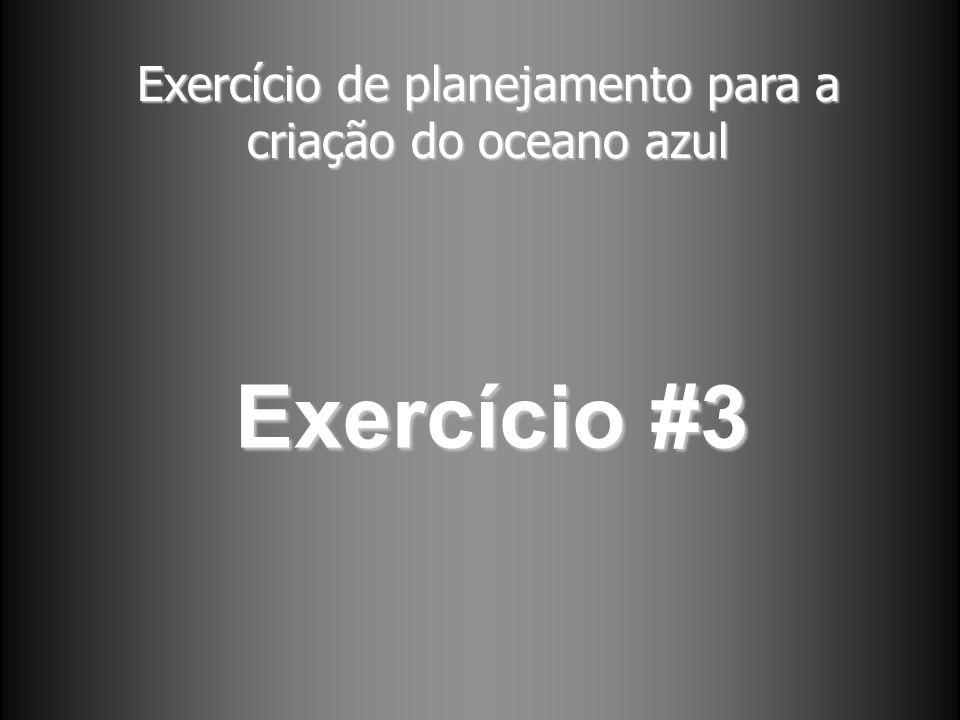 Exercício de planejamento para a criação do oceano azul Exercício #3