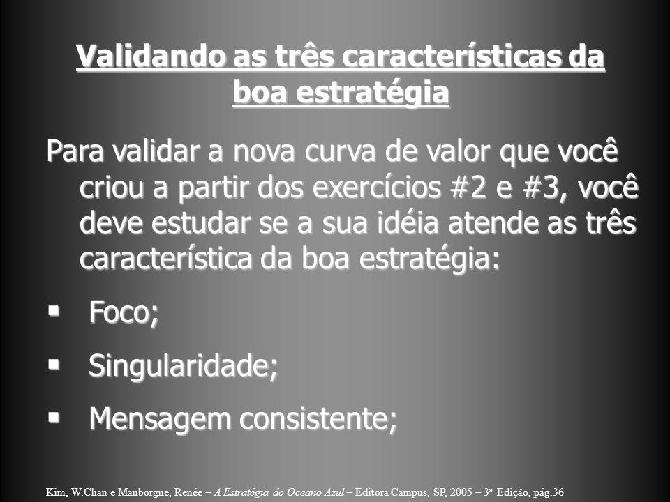 Validando as três características da boa estratégia Para validar a nova curva de valor que você criou a partir dos exercícios #2 e #3, você deve estud
