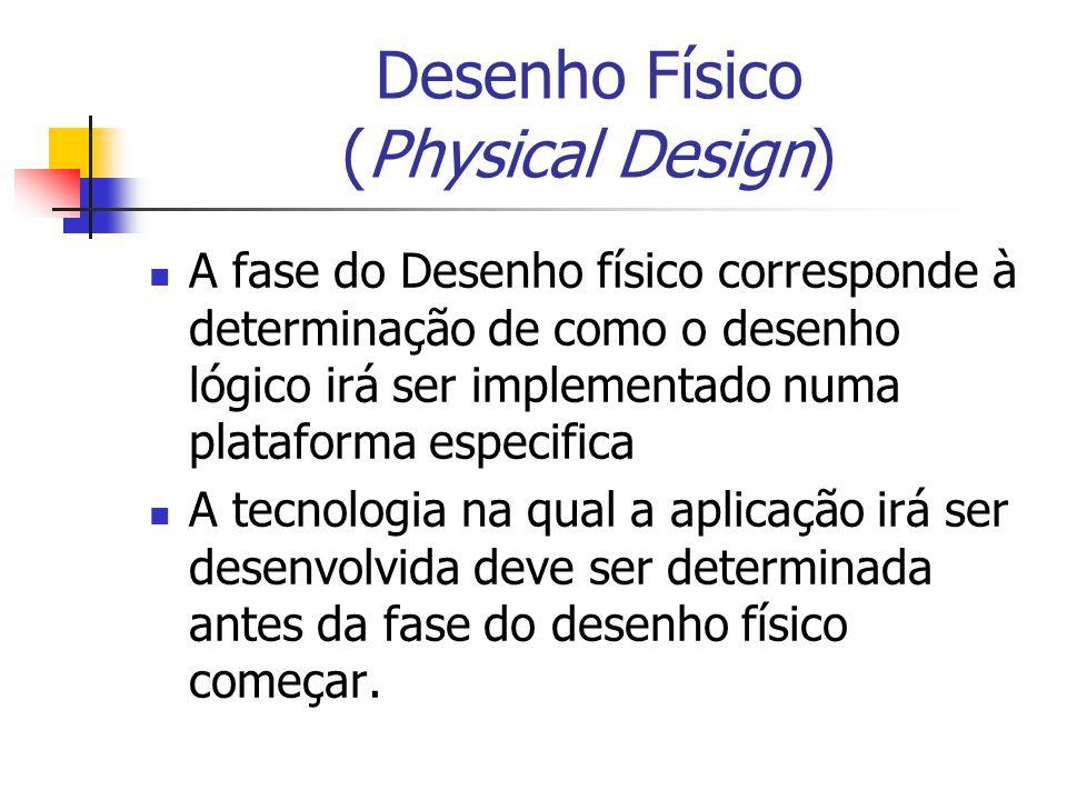 Desenho Físico (Physical Design) A fase do Desenho físico corresponde à determinação de como o desenho lógico irá ser implementado numa plataforma esp