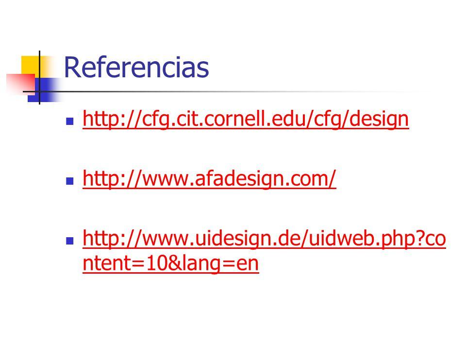 Referencias http://cfg.cit.cornell.edu/cfg/design http://www.afadesign.com/ http://www.uidesign.de/uidweb.php?co ntent=10&lang=en http://www.uidesign.