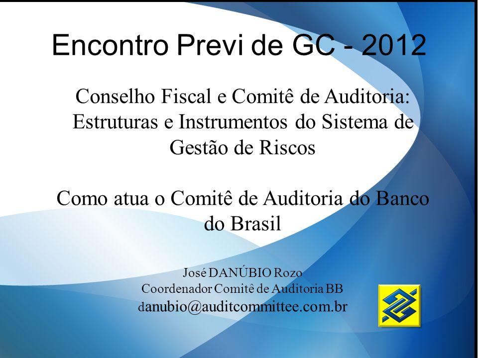 Encontro Previ de GC - 2012 Conselho Fiscal e Comitê de Auditoria: Estruturas e Instrumentos do Sistema de Gestão de Riscos Como atua o Comitê de Audi