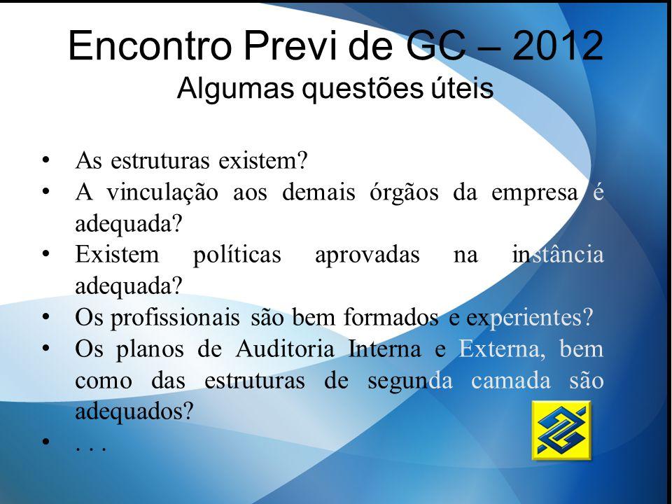 Encontro Previ de GC – 2012 Algumas questões úteis As estruturas existem? A vinculação aos demais órgãos da empresa é adequada? Existem políticas apro