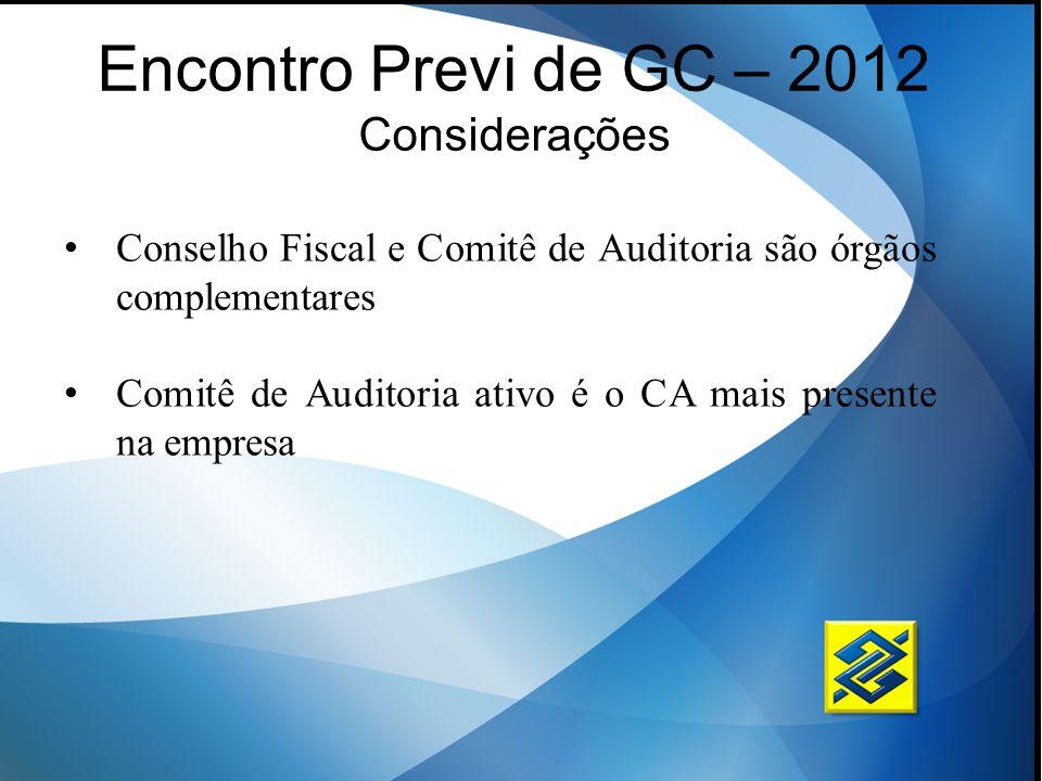 Encontro Previ de GC – 2012 Considerações Conselho Fiscal e Comitê de Auditoria são órgãos complementares Comitê de Auditoria ativo é o CA mais presen