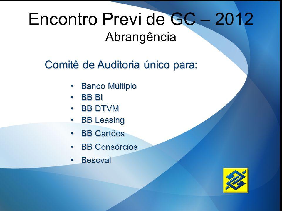 Encontro Previ de GC – 2012 Abrangência Banco MúltiploBanco Múltiplo BB BIBB BI BB DTVMBB DTVM BB LeasingBB Leasing BB CartõesBB Cartões BB Consórcios