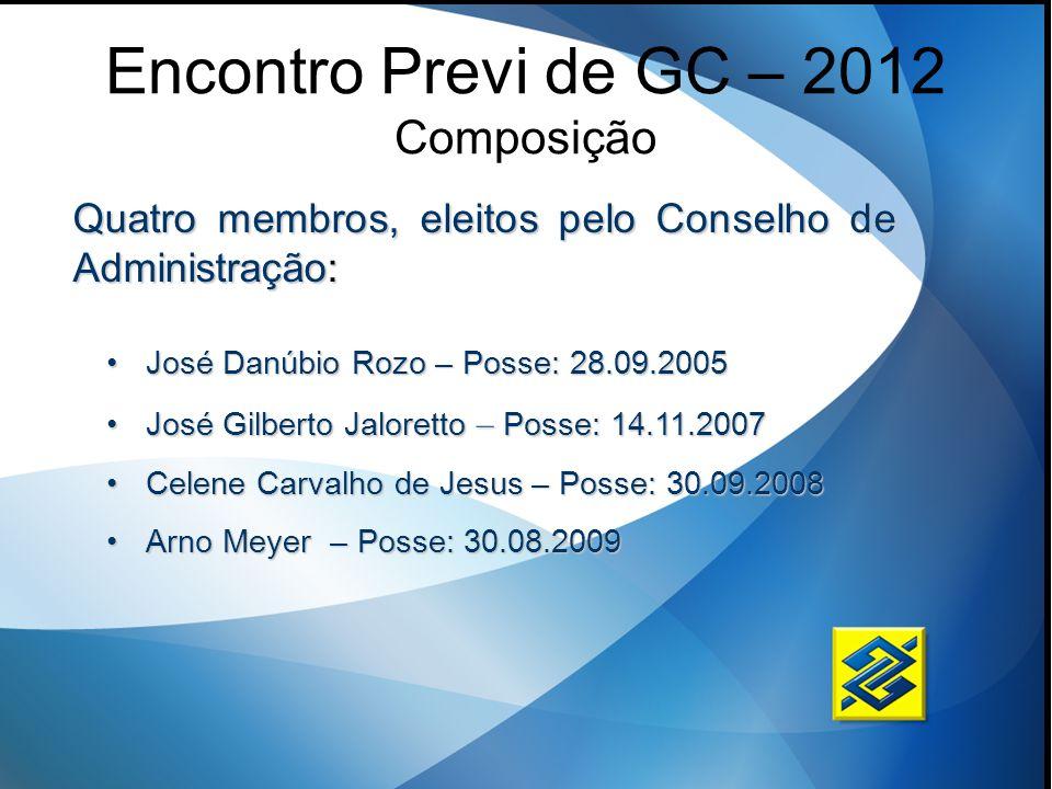 Encontro Previ de GC – 2012 Composição José Danúbio Rozo – Posse: 28.09.2005José Danúbio Rozo – Posse: 28.09.2005 José Gilberto Jaloretto – Posse: 14.