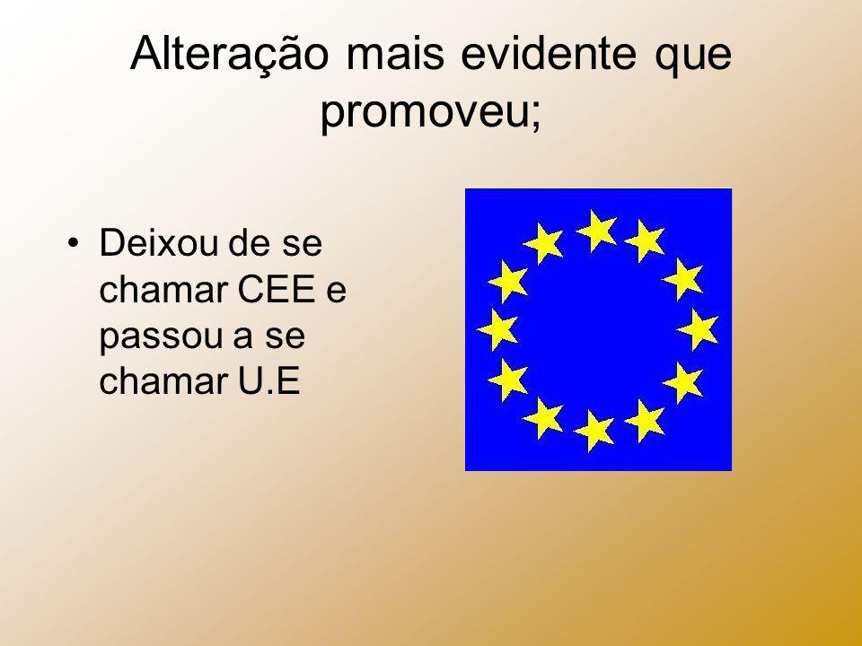 Alteração mais evidente que promoveu; Deixou de se chamar CEE e passou a se chamar U.E