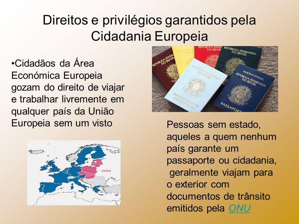 Direitos e privilégios garantidos pela Cidadania Europeia Cidadãos da Área Económica Europeia gozam do direito de viajar e trabalhar livremente em qua