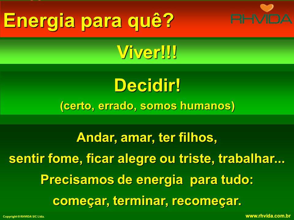 Copyright © RHVIDA S/C Ltda.www.rhvida.com.br Energia para quê.