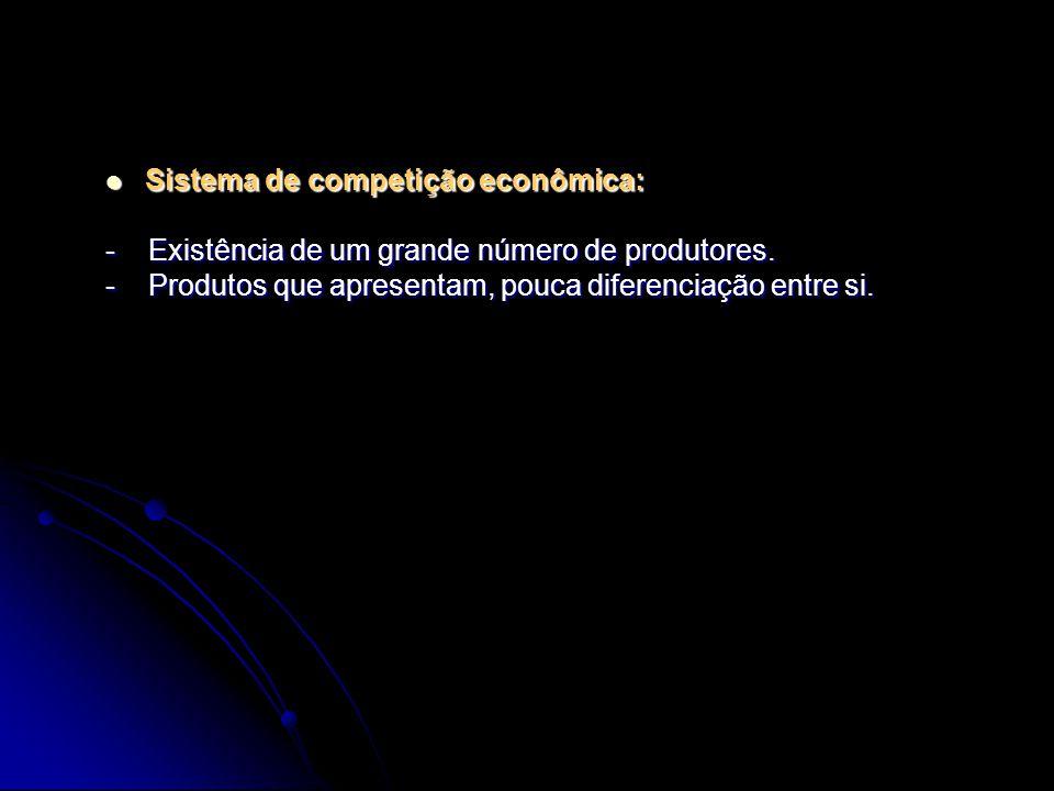 Sistema de competição econômica: Sistema de competição econômica: - Existência de um grande número de produtores. - Produtos que apresentam, pouca dif