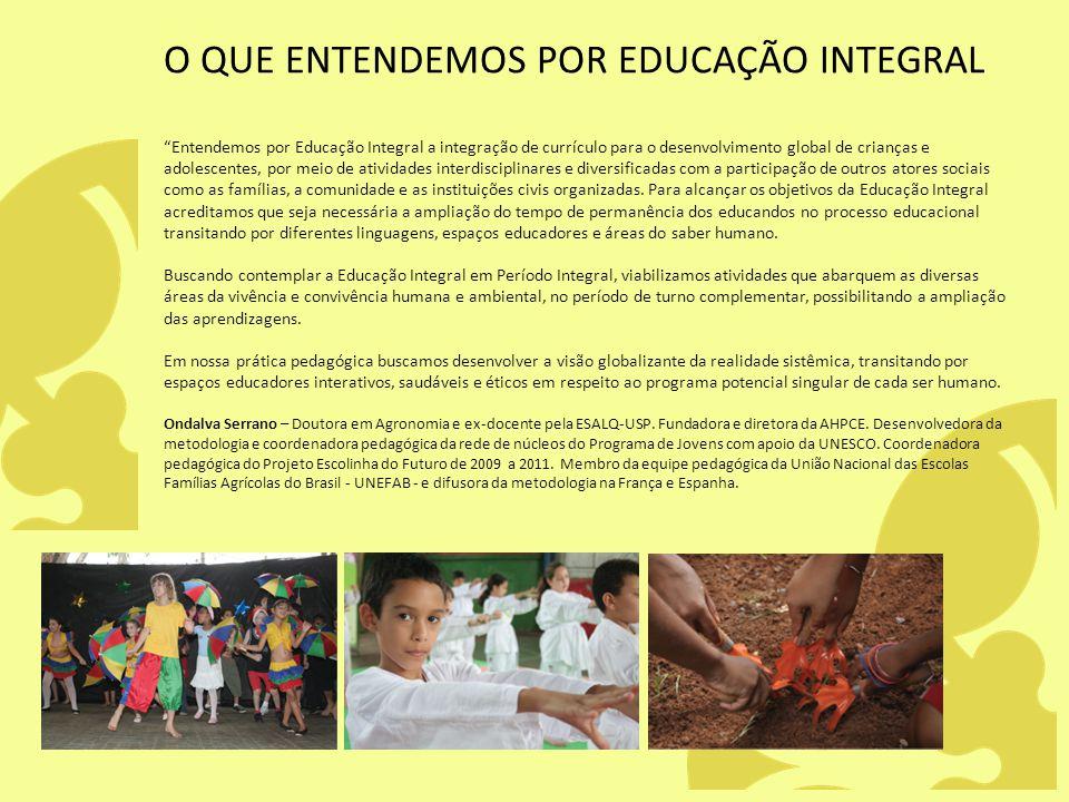 O QUE ENTENDEMOS POR EDUCAÇÃO INTEGRAL Entendemos por Educação Integral a integração de currículo para o desenvolvimento global de crianças e adolesce