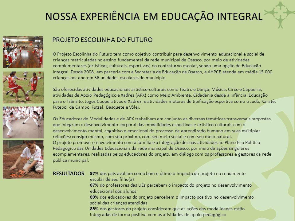 NOSSA EXPERIÊNCIA EM EDUCAÇÃO INTEGRAL PROJETO ESCOLINHA DO FUTURO O Projeto Escolinha do Futuro tem como objetivo contribuir para desenvolvimento edu