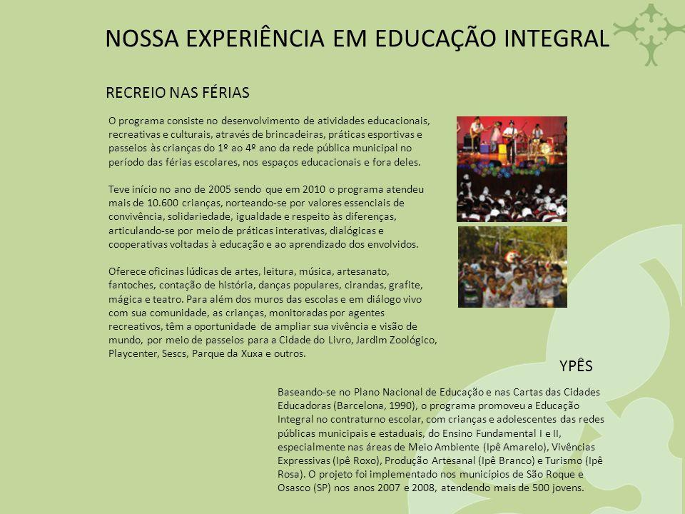 NOSSA EXPERIÊNCIA EM EDUCAÇÃO INTEGRAL RECREIO NAS FÉRIAS O programa consiste no desenvolvimento de atividades educacionais, recreativas e culturais,