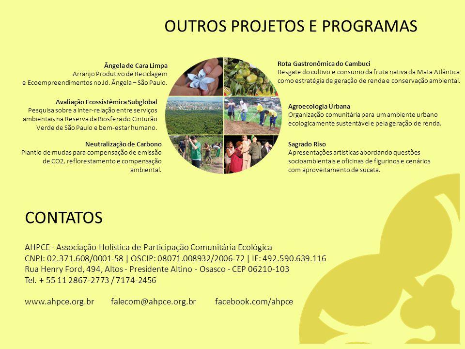 OUTROS PROJETOS E PROGRAMAS Ângela de Cara Limpa Arranjo Produtivo de Reciclagem e Ecoempreendimentos no Jd. Ângela – São Paulo. Avaliação Ecossistêmi