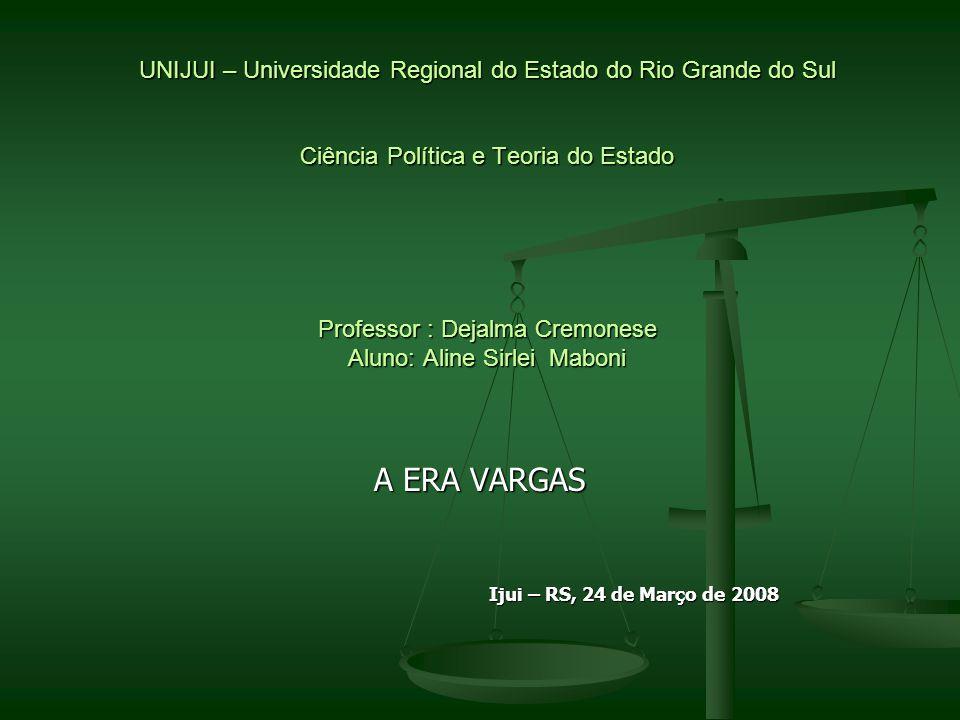 UNIJUI – Universidade Regional do Estado do Rio Grande do Sul Ciência Política e Teoria do Estado Professor : Dejalma Cremonese Aluno: Aline Sirlei Ma