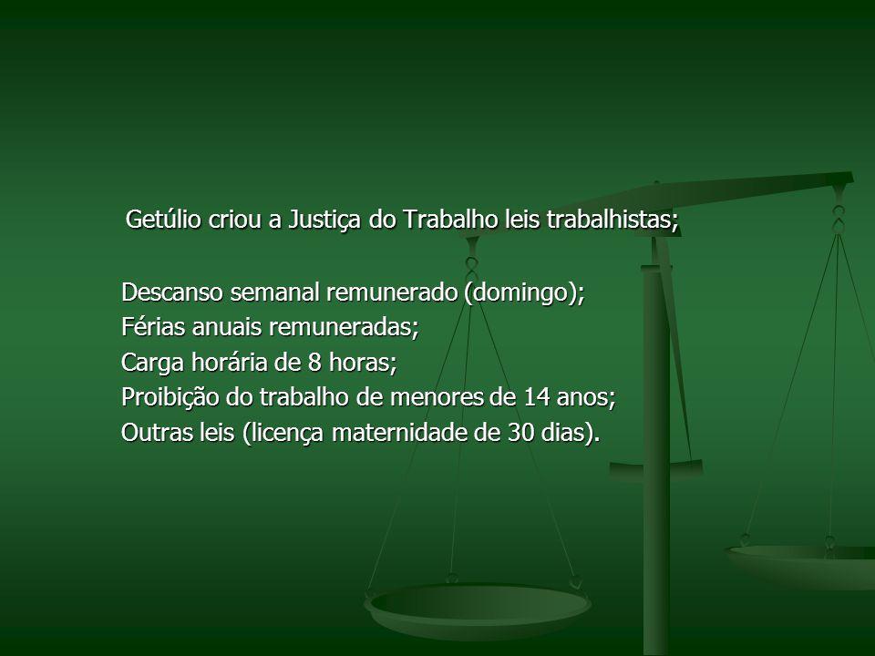 Getúlio criou a Justiça do Trabalho leis trabalhistas; Getúlio criou a Justiça do Trabalho leis trabalhistas; Descanso semanal remunerado (domingo); D
