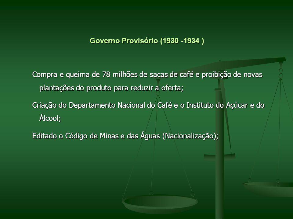 Governo Provisório (1930 -1934 ) Compra e queima de 78 milhões de sacas de café e proibição de novas plantações do produto para reduzir a oferta; Comp