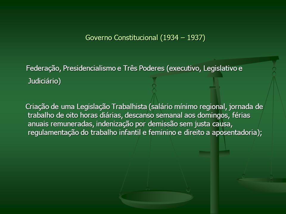 Governo Constitucional (1934 – 1937) Federação, Presidencialismo e Três Poderes (executivo, Legislativo e Federação, Presidencialismo e Três Poderes (