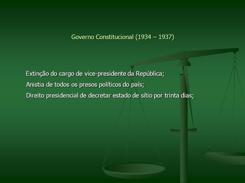 Governo Constitucional (1934 – 1937) Extinção do cargo de vice-presidente da República; Extinção do cargo de vice-presidente da República; Anistia de