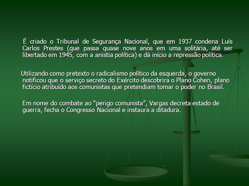 É criado o Tribunal de Segurança Nacional, que em 1937 condena Luís Carlos Prestes (que passa quase nove anos em uma solitária, até ser libertado em 1