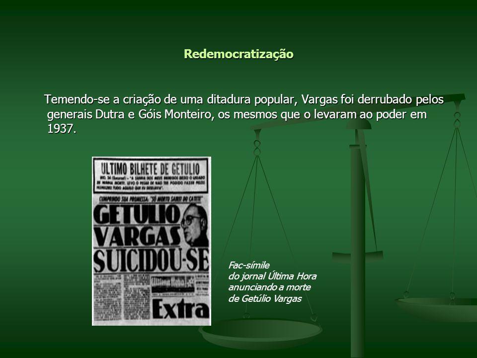 Redemocratização Temendo-se a criação de uma ditadura popular, Vargas foi derrubado pelos generais Dutra e Góis Monteiro, os mesmos que o levaram ao p