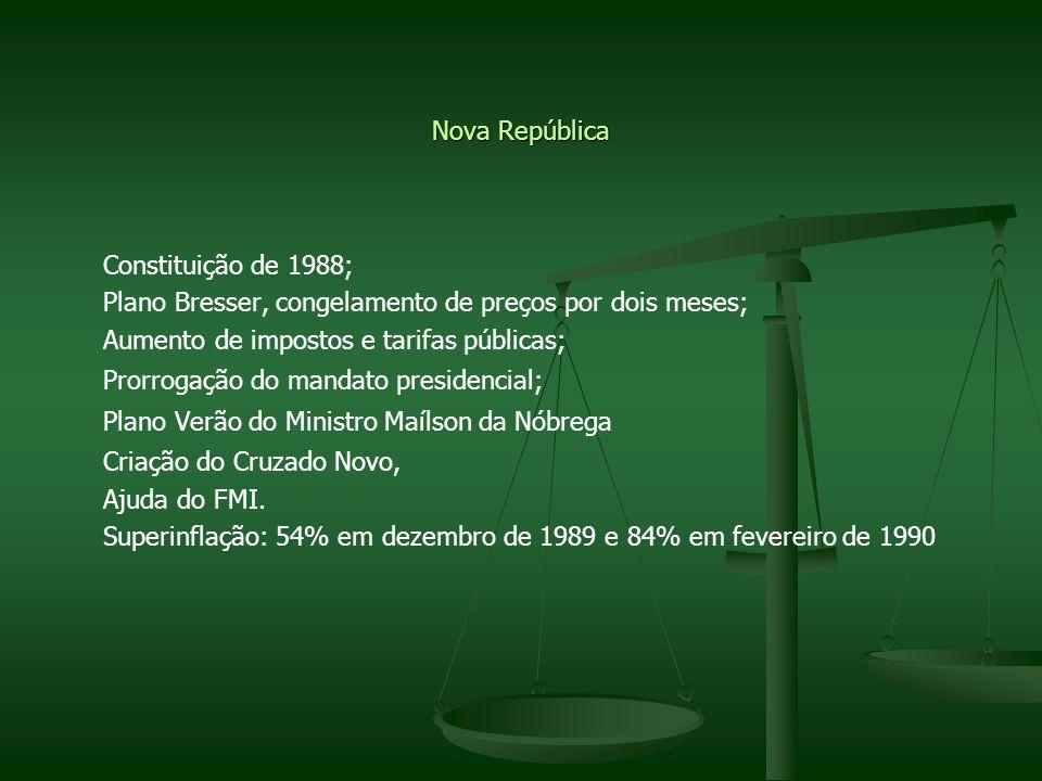 Nova República Constituição de 1988; Plano Bresser, congelamento de preços por dois meses; Aumento de impostos e tarifas públicas; Prorrogação do mand